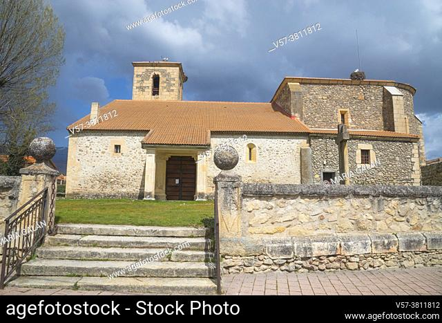 Facade of Santa Marina church. Alameda del Valle, Madrid province, Spain
