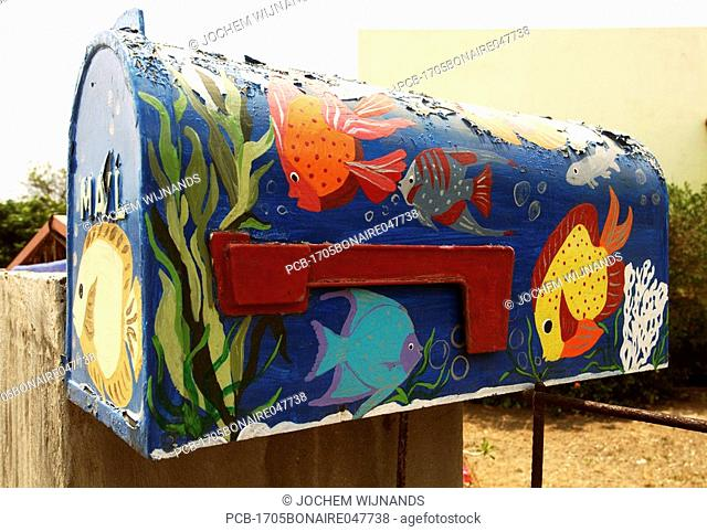 Netherlands Antilles, Bonaire, Kralendijk, decorated mailbox