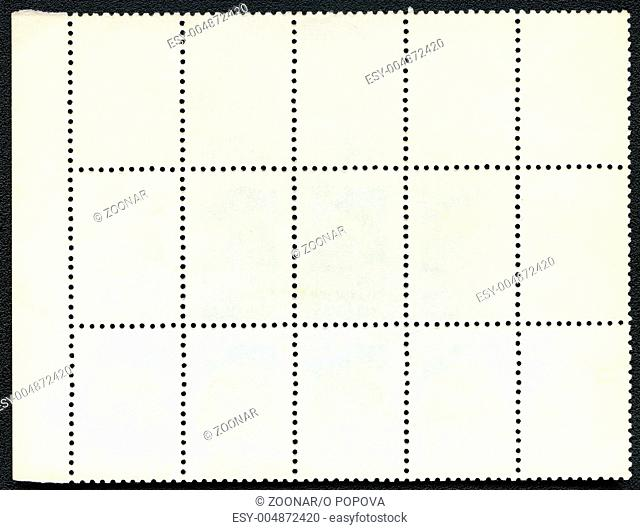 Blank postage stamps block of fifteen framed