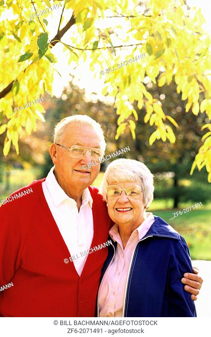 Portrait of Healthy Retired Couple Vibrant Fall Colors