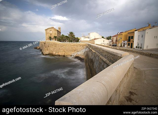 Tabarca island Alicante Spain on July 2020: Nova Tabarca is the largest island in the Valencian Community, and the smallest permanently inhabited islet in Spain
