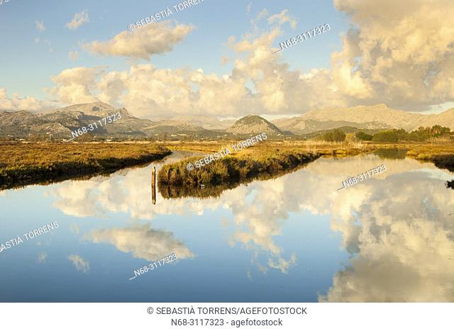 S'Albufereta and clouds, Alcudia, Majorca, Balearic Islands, Spain
