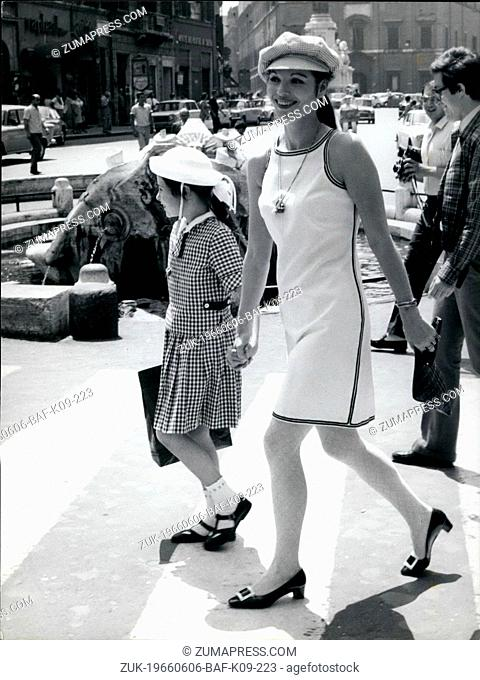 Jun. 06, 1966 - Italian screen star Elsa Martinelli seen today in Rome accompanied by her daughter Cristiana, had from her divorced husband Count Mancinelli