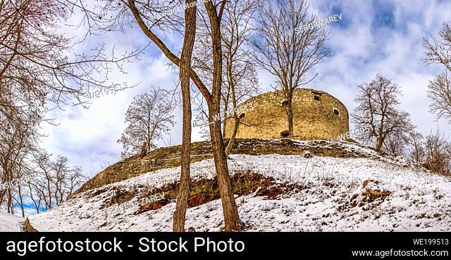 Terebovlia, Ukraine 01. 06. 2020. The ruins of the old Terebovlia castle, Ternopil region of Ukraine, on a sunny winter day