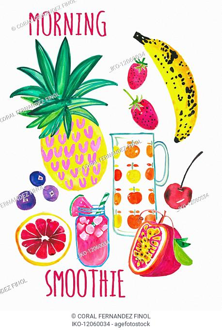 Fresh fruit ingredients for healthy morning smoothie