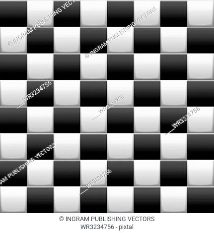 Black and white 3d checkered flag background with seamless tile repeat