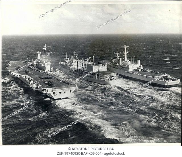 Sep. 20, 1974 - Exercise 'Northern Merger': The Royal Navy's aircraft carrier HMS Hermes and the assault ship HMS Fearless are seen being refueled at see off...