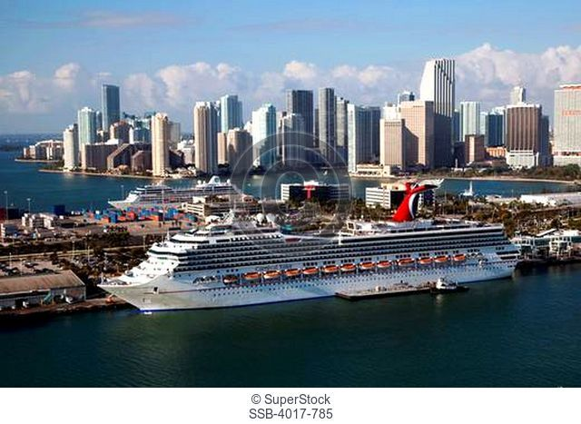 Aerial of Port of Miami Cruise Ship Port with docked ships and downtown skyline