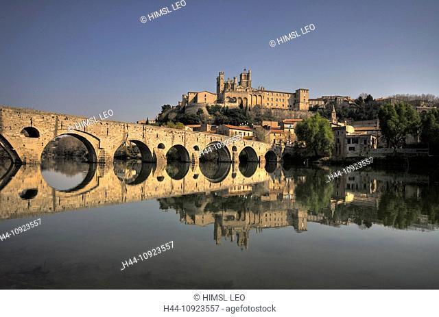 France, Europe, Languedoc Roussilon, Beziers, Herault, bridge, river, flow, church