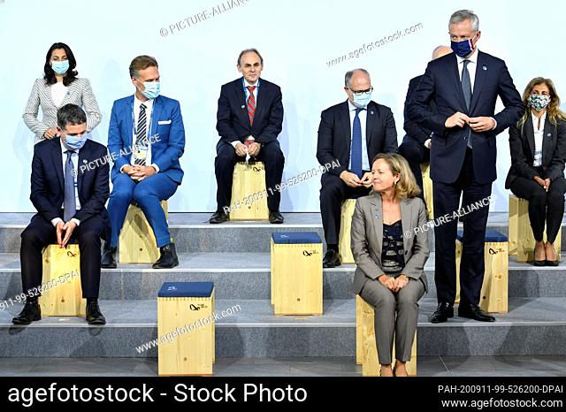 11 September 2020, Berlin: Bruno Le Maire (2nd from right), France's Minister of Economy and Finance and other participants of the informal meeting of EU...
