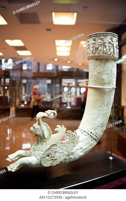 Ivory rhyton drinking vessel, 2nd Century BC, Old Nisa, National Archaeological museum; Ashgabat, Turkmenistan