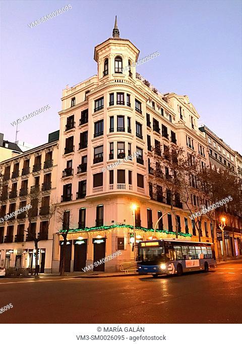 Facade of house at dawn. Goya street corner to Serrano street, Madrid, Spain