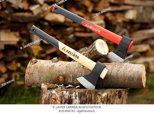 Hand axes to cut wood, hand tool, farming, Guipuzcoa, Basque Country, Spain