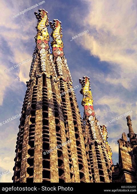 Towers of La Sagrada Familia Basilica. Barcelona. Spain