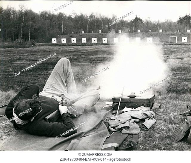 Apr. 04, 1970 - Muzzieloaders Recall Sounds of Past Battles.: 'Veterans' of the Crimean War and the Indian Mutiny were is action again yesterday - on the bleak...