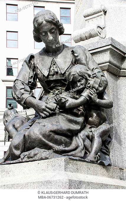 Statue of Jeanne Mance at Maisonneuve Monument in Montreal