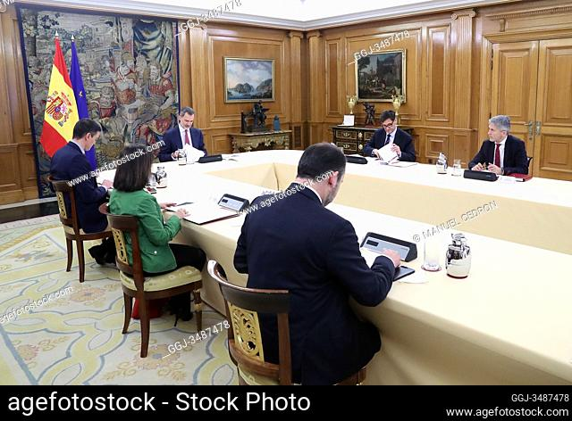 King Felipe VI of Spain, Pedro Sanchez, Prime Minister, Fernando Grande-Marlaska, Salvador Illa, Margarita Robles, Fernando Simon attends a meeting about...