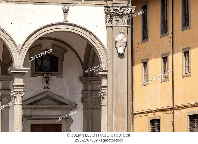 Typical building facade in Piazza della Santissima Annunziata, Florence, Italy. Florence, Italy