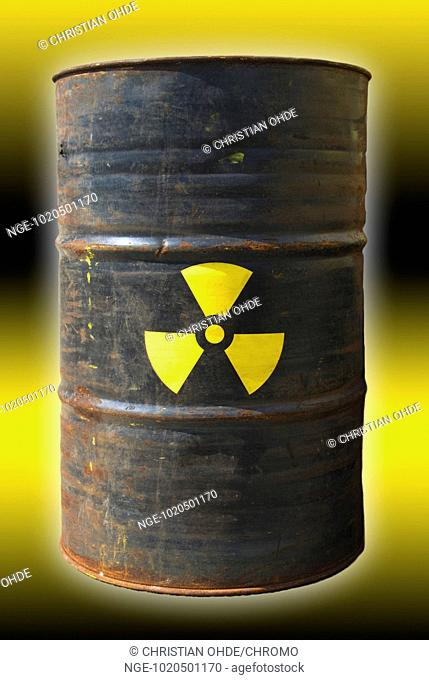 Barrel with radioactivity sign
