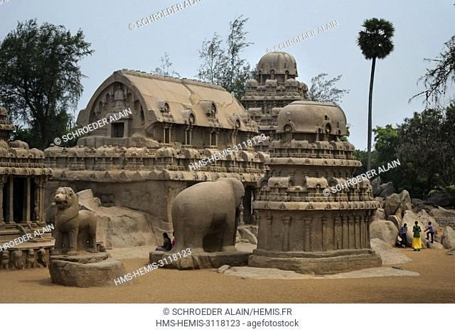 India, Tamil Nadu State, Mahabalipuram or Mamallapuram, Five Rathas of Mahabalipuram, listed as World Heritage by UNESCO