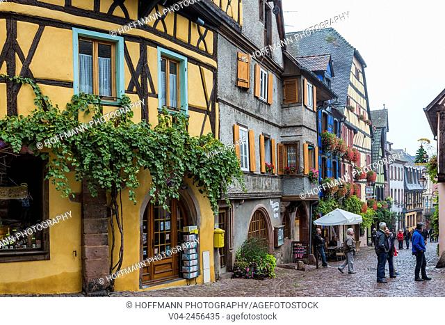 The picturesque village of Riquewihr, Alsace, France, Europe
