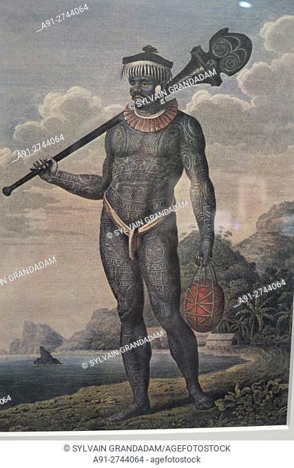 "France, Ile-de-France, Paris, Branly museum, marquesas islands tribal art exhibition """"Mata Hoata"""""