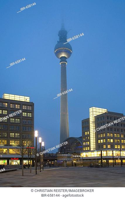Alexanderplatz with Berolina house and television tower, Mitte, Berlin, Germany, Europe