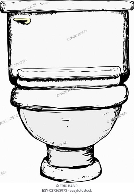 Single hand drawn toilet with closed lid over white background