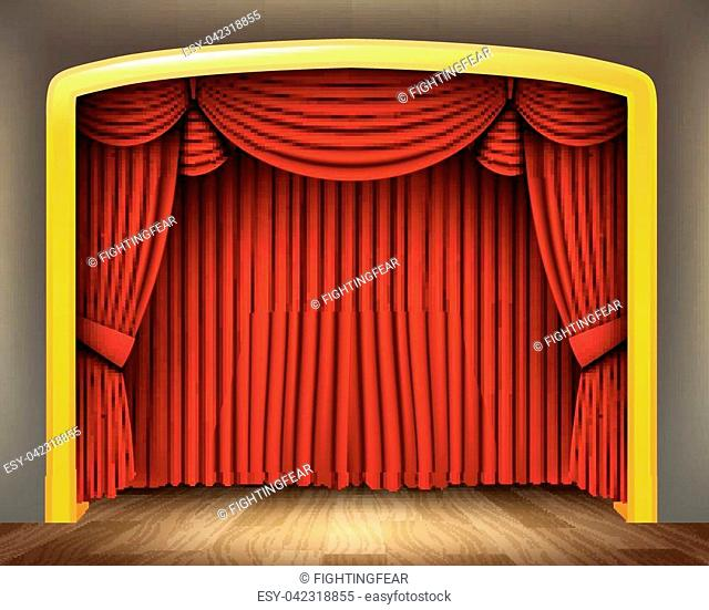 Vector Illustration Of Red curtain of classical theater with wood floor