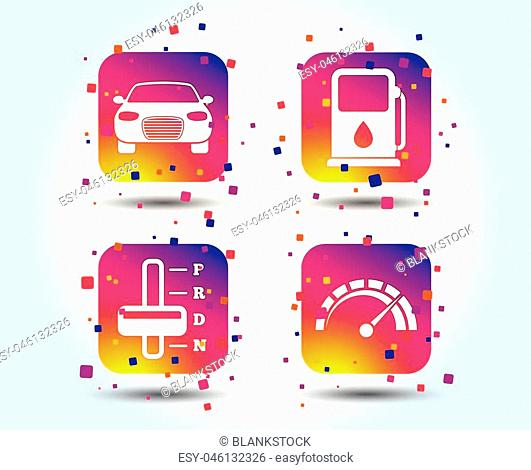 Transport icons. Car tachometer and automatic transmission symbols. Petrol or Gas station sign. Colour gradient square buttons. Flat design concept