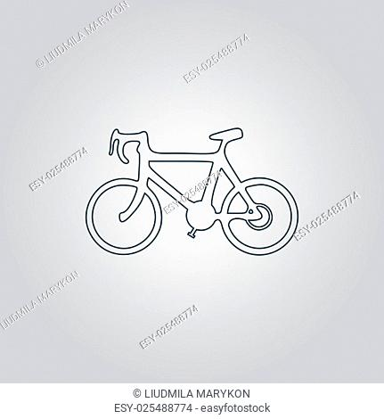 Bicycle. Flat web icon, sign or button isolated on grey background. Collection modern trend concept design style vector illustration symbol