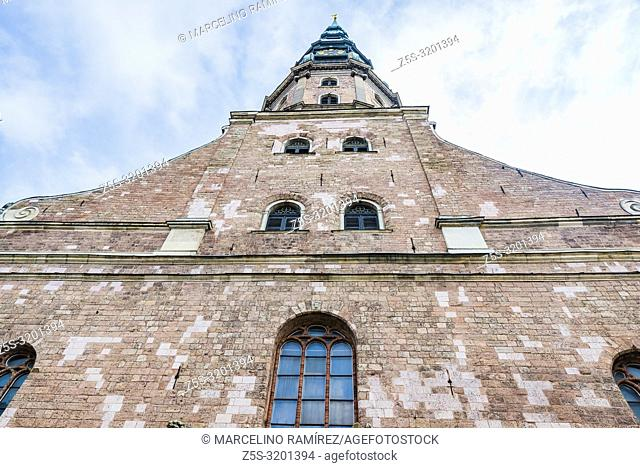 Facade. St. Peter's Church is a Lutheran church in Riga, the capital of Latvia, dedicated to Saint Peter. Riga, Latvia, Baltic states, Europe