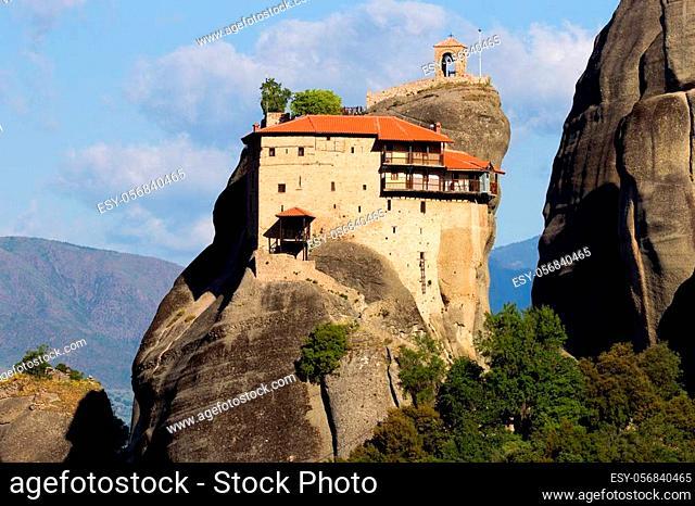 Scenic view of St. Nikolaos Anapafsas Monastery on a monolithic pillar in Meteora, Greece
