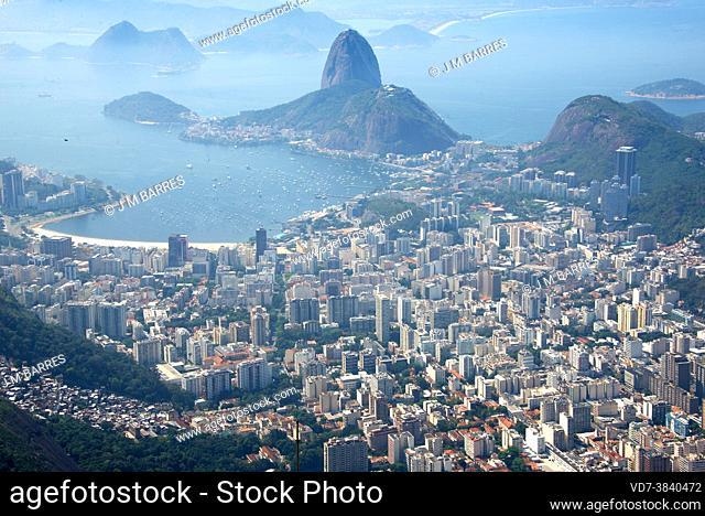 Rio de Janeiro, city and and bay view from Cristo Redentor. Brazil