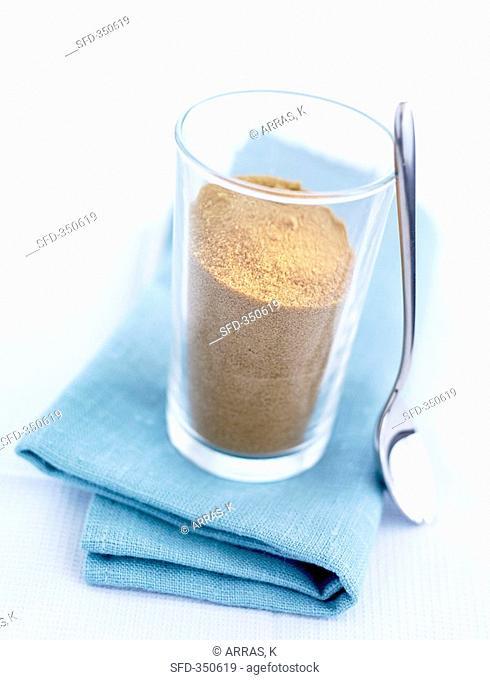 Cane sugar in a glass