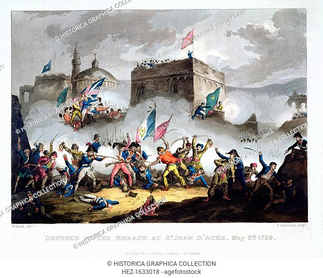 'Defence of the breach at St Jean d'Acre, May 8th 1799', 1815. Scene from Napoleon's failed attempt to take the city of Acre from the Ottomans and British...
