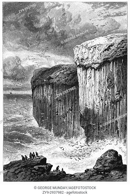 1870: Fingal's Cave is a sea cave on the uninhabited island of Staffa, in the Inner Hebrides of Scotland, known for its natural acoustics
