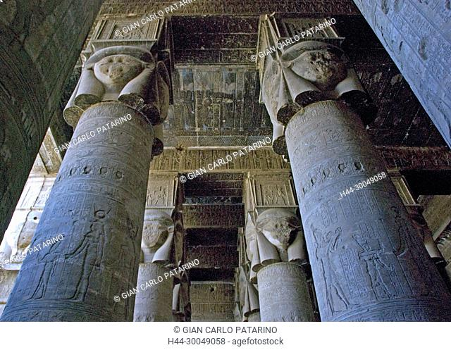 Egypt, Dendera, Ptolemaic temple of the goddess Hathor.View of ceiling and Hathoric columns