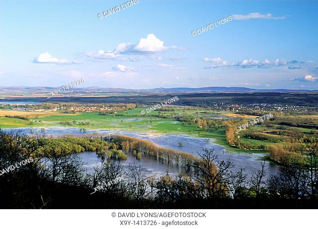 Slovakia  Looking southeast over the River Ipel forming border from Slovakia into northern Hungary east of town of Sahy