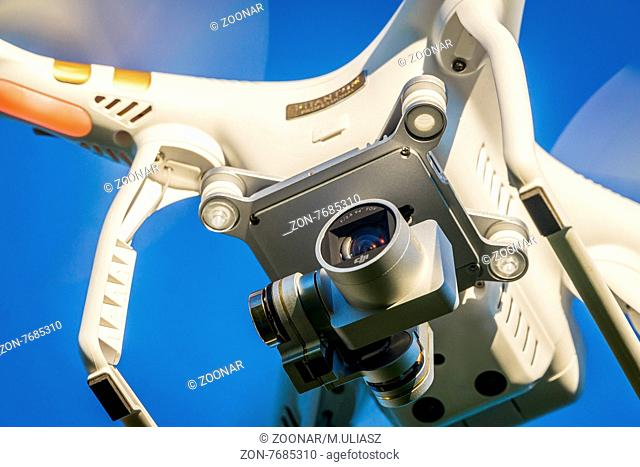 FORT COLLINS, CO, USA, SEPTEMBER 3, 2015: Close up view of the DJI Phantom 3 quadcopter drone flying with a camera