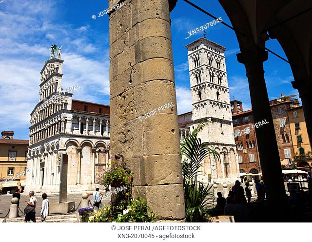 San Michele in Foro is a Roman Catholic basilica church, St Michael square, Lucca, Tuscany, Italy, Europe