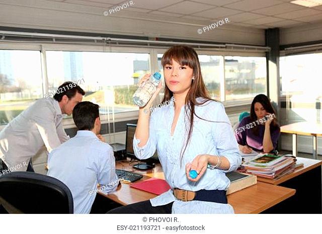 Woman having break in office