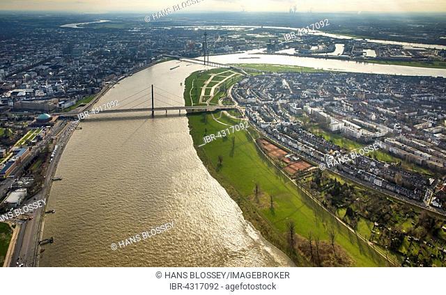 Rhine floods at the Rheinkniebrücke bridge, Düsseldorf, Rhineland, North Rhine-Westphalia, Germany