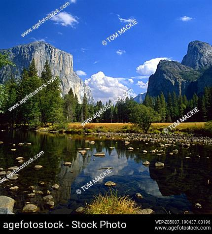 El Capitan Reflecting in Merced River, Yosemite National Park, California, USA