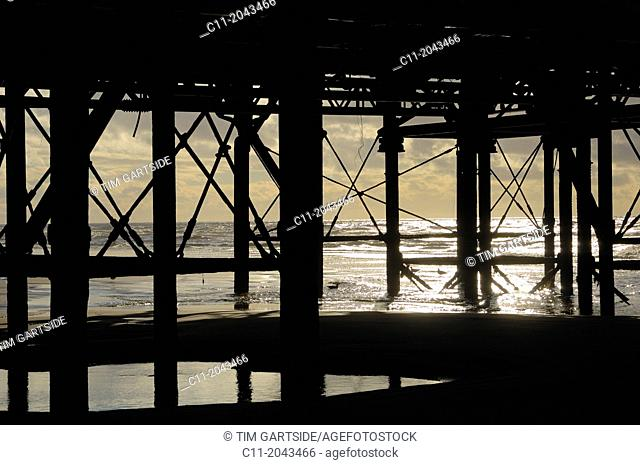 central pier silhouetted detail; sea;sunny day, blackpool, lancashire ,england, uk, europe