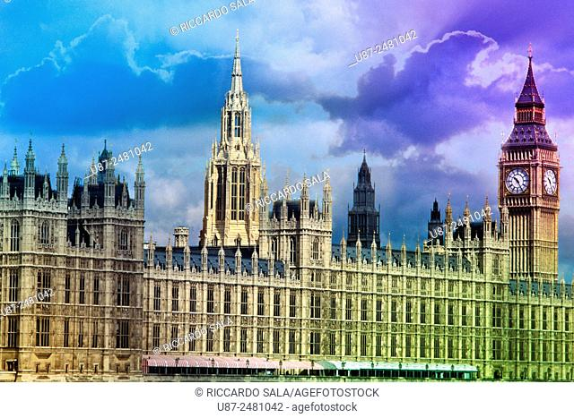 England, London, Houses of Parliament, Palace of Westminster, Big Ben Clock Tower