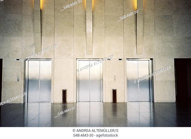 Three elevators in hotel lobby, Sao Paulo, Brazil