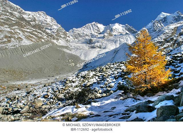 Tschierva glacier and Piz Bernina in late fall (Engadin, Switzerland). The retreat of the glacier is easily visible; on the left