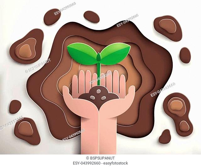 paper cut of hand planting sprout into soil hole, ecology and nature concept, paper art style, vector and illustration