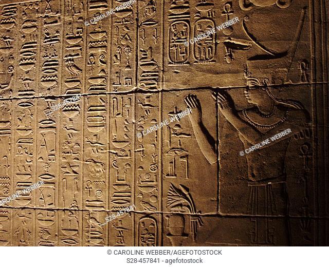 Hieroglyphs at Philae Temple, Aswan, Egypt